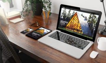 Devices,Architect,Studio,On,Wooden,Desktop,3d,Rendering